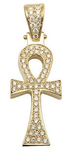 14k Yellow Gold Ankh Cross Solid Back Genuine Diamond 1.5 Pendant Charm 1.50ct