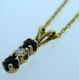 Other 14k Yellow Gold Chain W Sapphire Diamond Pendant Necklace
