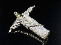 14k Yellow Gold Christ The Redeemer Iced Out Real Diamond Pendant Charm 1.60ct
