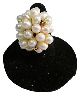 Other 14k Yellow Gold Estate Natural Freshwater Pearl Cluster Ring 10.7 Grams -