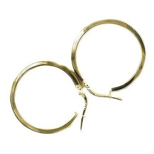 14k Yellow Gold Hoop Earring With Greek Key Cut Out Design 2.4 Grams