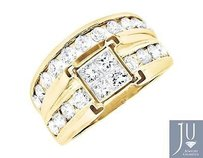 Other 14k Yellow Gold Invisible-set Princessround Diamond Engagement Bridal Ring 2ct