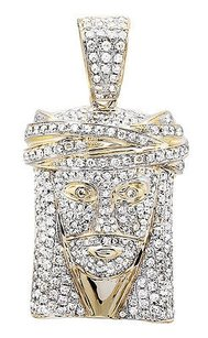 14k Yellow Gold Jesus Face Piece Genuine Diamond 1.25 Inch Pendant Charm 2.50ct.