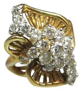 Other 14k Yellow Gold Ladies Diamonds Leaf Design Cocktail Ring
