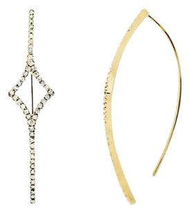 Other 14k Yellow Gold One Row Diamond Arc Fashion Threader Hoop Earrings 0.60ct