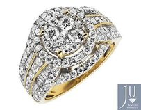 14k Yellow Gold Round Baguette Cluster Diamond Engagement Bridal Ring Ct