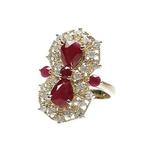 Other 14k Yellow Gold Ruby Diamond Cocktail Ring Size 7