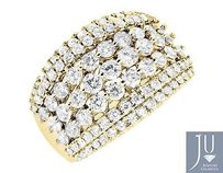 14k Yellow Gold Wide Genuine Diamond Engagement Wedding Bridal Band Ring 2.01ct