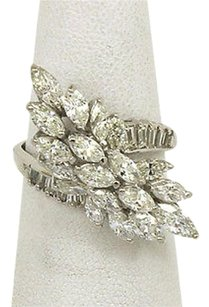 14kt White Gold 4.0ctw. Marquise Baguette Diamonds Ladies Cluster Ring