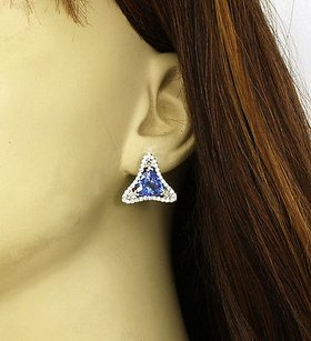 14kt White Gold 8ctw Tanzanite Diamond Fancy Design Stud Earrings