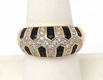 Other 14kt Yello Gold 3.3ctw Diamond Sapphire Dome Band Ring
