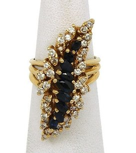 14kt Yellow 3.30ctw Diamond Blue Sapphire Gemstone Cascade Ring