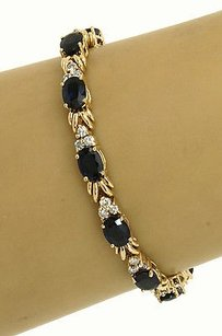 14kt Yellow Gold 19.32ctw Sapphire Diamond Tennis Bracelet