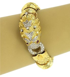 1.85ct Diamonds Ruby Dragon Head Bracelet In 18k Yellow Gold