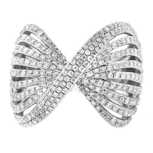 Other 1.89ct Diamond 14k White Gold Ribbed Bow Ring 4-10