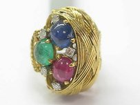 Other 18k Gem Ruby Sapphire Emerald Diamond Solitaire W Accents Jewelry Ring Yg 3.55ct