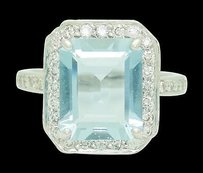 18k Gold 11x9mm Emerald Cut Aquamarine Apx 1.00 Ct Tcw Vs G Diamond Ring R437