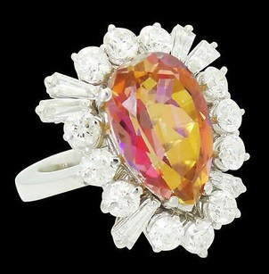 18k Gold Apx Tcw Vvs F Diamond Pear Shaped Fire Mystic Topaz Ring R532