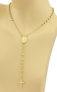 Other 18k Gold Mary Jesus Cross Pendant Beaded Rosary Long Necklace
