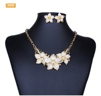 Other 18K Gold Plated Charming White Oil Drop Flower Set