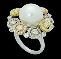 18k Multi Tone Gold Tcw Vs-si Diamond 12mm Pearl Ring R739