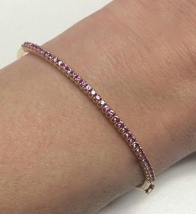 Other 18k Pink Gold Bangle Bracelet Designed By Spark W 1.0 Ctw Pink Sapphires