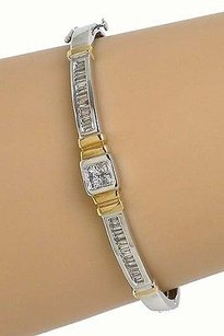 Other 18k Two Tone Gold 1.35ctw Princess Baguette Cut Diamond Bangle