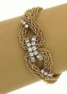 18k Two Tone Gold 2ctw Diamond Infinity Knot Cable Wire Chain Link Bracelet
