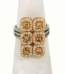 18k Two Tone Gold 3.02ctw Fancy Yellow Diamonds Ladies Cocktail Ring