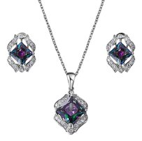 Other 18K WGP Genuine Mystic Topaz Stud Earrings & Pendant Necklace Set