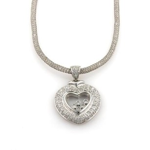 18k White Gold 1.50ct Diamonds Heart Pendant 14k Wgold Mesh Chain Necklace