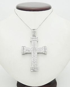 18k White Gold 15.92 Tcw Diamond Baguette Princess Cut Cross Pendant O1