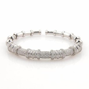 18k White Gold 3ct Pave Diamonds Fancy Open Flex Bangle Bracelet