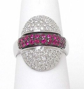 18k White Gold .69ctw Diamond .71ctw Ruby Fancy Dome Ladies Cocktail Ring
