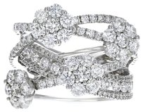 18k White Gold and Diamond Crossover Flower Ring