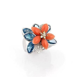 Other 18k White Gold Diamond Coral Blue Topaz Movable Flower Ring
