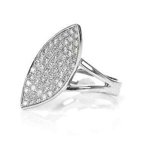 Other 18k White Gold Diamond Pave Marquise Slant Ring Size 8.5