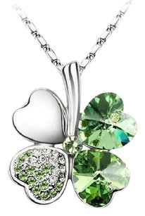 Other 18K White Gold Plated 4 Heart Clover Charm Necklace
