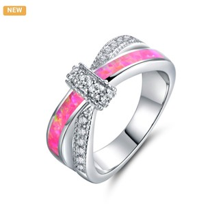 Other 18K White Gold Plated & Pink Lab Created Opal CZ Crisscross Ring