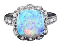 Other 18K White Gold Plated Lab Created Blue Opal Ring