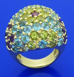 18k Yellow Gold 13.50 Carats Tcw Amethyst Blue Topaz Peridot Dome Ring R373
