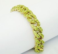 Other 18k Yellow Gold 14.50 Carats Tcw Peridot Cuban Link Bracelet 7 B12