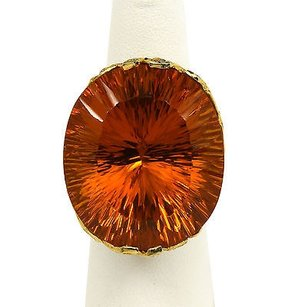 Other 18k Yellow Gold 1.6 Cts Diamonds Ladies Massive Orange Crystal Dress Ring