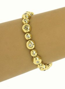 18k Yellow Gold 2ctw Flush Set Diamonds Ladies Bracelet