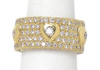 18k Yellow Gold 3.5ctw Diamond Heart Design Wide Band Ring