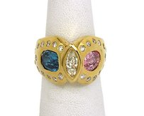 18k Yellow Gold 6.40ctw Diamond Pink Kunzite Blue Topaz Cocktail Ring