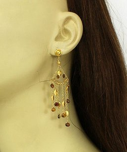 Other 18k Yellow Gold Faceted Citrine Multi-strand Drop Dangle Chandelier Earrings