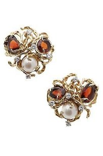 Other 18k Yellow Gold Garnet Pearl Clip-on Earrings
