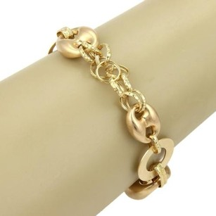 18k Yellow Gold Mariner Circle Link Bracelet Toggle Clasp Italy
