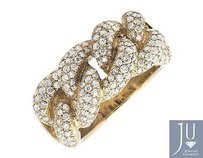 18k Yellow Gold Miami Cuban Link Style Genuine Vs Diamond Statement Ring 1.50ct.